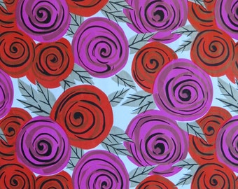 Vintage All-Occasion Gift Wrap - Wrapping Paper - MOD ROSES - 1960s