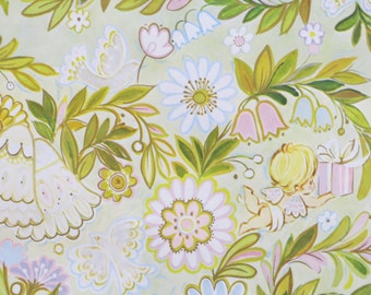 Vintage Laurel WEDDING Gift Wrap - Wrapping Paper - FLOWERS and ANGELS - 1960s
