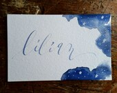 Starry Night Watercolor Place Card, Wedding, Calligraphy