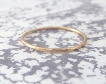 9ct Rose Gold Band Ring - Midi Ring - Hammered finish