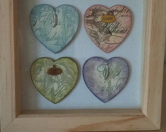 Four heart box framed picture