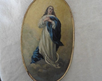 French Antique, Oil Painting, Virgin Mary, Tole Peint, Rare, Ensigne Tole Peint, Processional Banner. French vintage, French Church