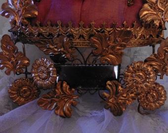 Sold To  Karen. French Vintage, Wedding display , Wax  Flower Garland  , Wax Flower, French Wedding Cushion Napoleon III Mirrors Gilt