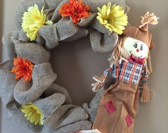 Fall Scarecrow Burlap Wreath, Scarecrow decor, Fall Decor, Scarecrow wreath, Fall Wreath, Wall Decor, Front Door Wreath, Autumn Wreath