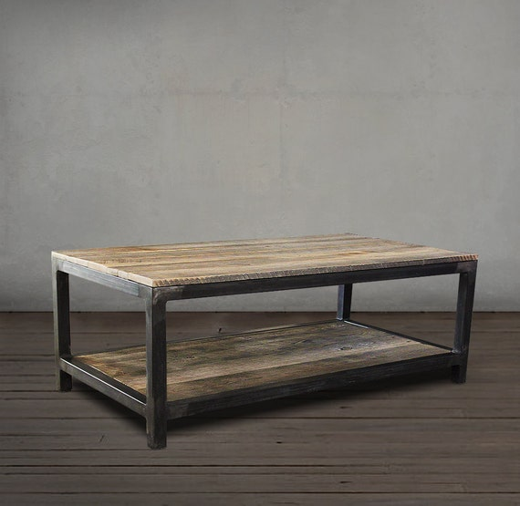 Reclaimed Wood And Metal Coffee Table: Reclaimed Wood Coffee Table Two Tier Wood And Metal