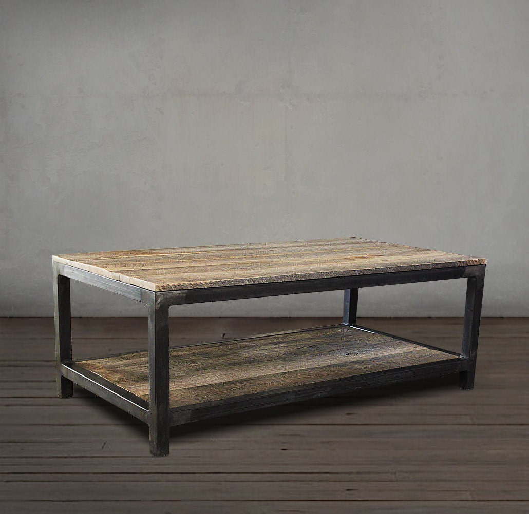 Reclaimed Wood Coffee Table Two Tier Wood And Metal