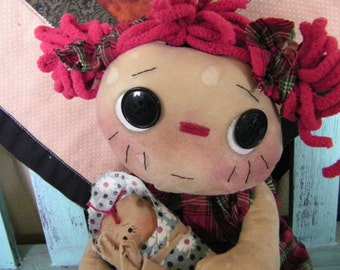 Primitive raggedy doll, Raggedy Ann, tea stained primitive