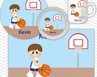 Basketball Boy Plate & Bowl Set - Personalized Basketball Plate Set - Customized Plate and Bowl - Melamine Plate and Bowl Set for Kids