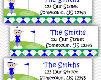 Golf Boy - Personalized Address labels, Stickers