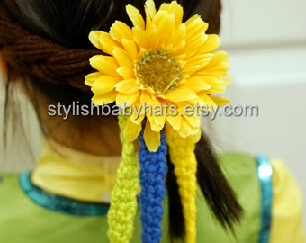 Frozen Fever Anna Hair Tie Sunflower Ribbon, Coronation Hairstyle, Crochet Baby Hat, photo prop, Inspired by Frozen