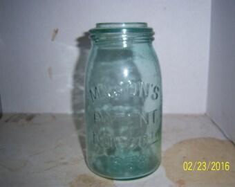 1890's Mason's Patent Nov 30th 1858 Quart Fruit Canning Mason Jar BLUE Aqua 7 1/4 inch tall