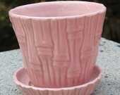 """4"""" Pink Mid-Century USA Flower Pot or Planter with Attached Saucer, Bamboo Pattern"""