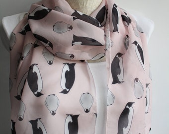 Penguin Scarf, Cute Penguin Infinity Scarf, Cute Scarf, Pink Scarf, Gift Ideas for Her, Women Accessories,