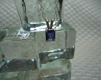 Emerald Cut Ceylon Sapphire Necklace in Sterling Silver