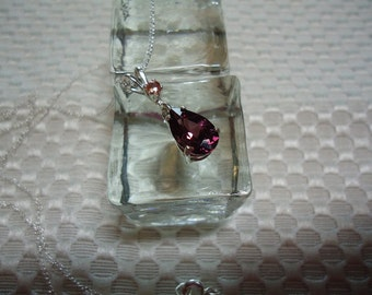 Pear Cut Rhodolite Garnet and Pink Sapphire Necklace in Sterling Silver   1744