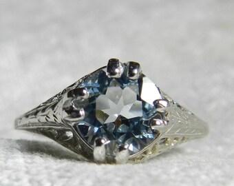 Aquamarine Ring Aquamarine Engagement Ring 2 Ct Cushion Cut 14K White Gold Art Deco 1920s Aquamarine Filigree Ring Edwardian March Gift