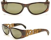 incredible vintage 80s KARL LAGERFELD tortoiseshell frane bronze metal logo typeface arms sunnies shades sunglasses