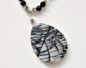 Summer Sale,For Her,Necklace,For Mom,For Grandma,Black Onyx,Spider Web Jasper Pendant,Statement,Necklace,Retirement Gift for Woman,Unique