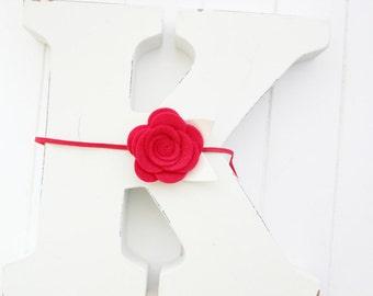 Felt Rose headband- Red - Felt flower headband- Baby girl headband-Gift-Girl headband -Hair accessory -Toddler headband- Babyshower