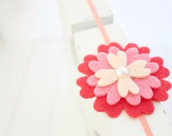 Felt flower headband- Coral, Skarlet  red - Baby girl headband-Gift-Girl headband -Hair accessory -Toddler headband- Babyshower