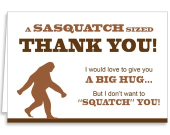 Guajolote Prints Sasquatch Thank You Cards & Envelopes 12-Pack