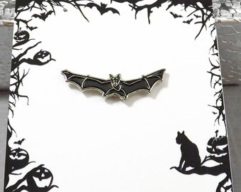 Bat Pin, Enamel Pin, Halloween Pin, Black Bat, Bat Brooch, Hat Pin, Vampire Bat, Witch Bat, Tie Tack, Halloween Brooch, Gothic Jewelry,