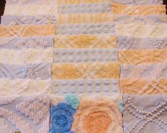 "36 Vintage Chenille Bedspread 6"" Quilt Squares Fabric Kit Blue Peach White"