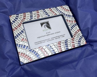 July 4th - Patriotic Home Decor - Red White Blue Mosaic Frame - Hostess Gift - Decorative Frame  - Boys Room Decor - Picture Frame