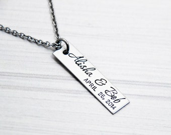 You & Me - Couple's Names - Wedding Date - Hand Stamped Bar Necklace - Anniversary, Engagement, Marriage Jewelry - Personalized Gift