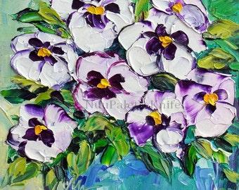 "Original Oil Pansy Painting White Purple Flower Floral Art Textured Impasto Palette Knife Mini Small 6x6"" Canvas Panel Framed Option"