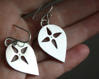 Melisende, crusade medieval sterling silver shield earrings, clip on earrings option