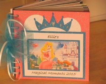 Disney Autograph Book Aurora Sleeping Beauty with Princess Crown  Album Scrapbook Boy or Girl Keepsake