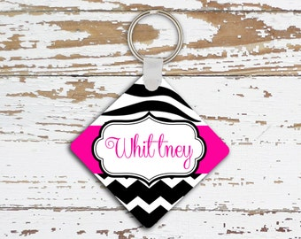 Personalized pink zebra keychain, Animal print car decor, Pink accessories for teenagers, Pink and black (1003)