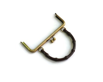 Portable  brown purse frame Antique Brass F20/165