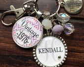 Birthday gift Personalized vintage 40th birthday keychain name mother sister aunt daughter 40th milestone birthday pink purple 1976 1966