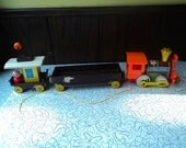 Vintage Fisher Price #168 Magnetic Chug-Chug Train Little People Pull Toy Set Complete Collectible Toy