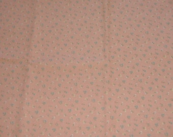 Fat Quarter Light Coral with Tiny Turquoise and White Flowers Cotton Fabric - 18 Inches x 24 Inches - Quilting, Sewing, Apparel, Beads