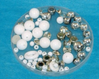 A Silver & White Collection of Round Beads, Rondelles and Pony Beads, Acrylic and Wood Beads - Assorted Sizes - Over 50 Beads - DESTASH