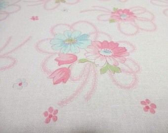 Japanese Fabric YUWA Race Ribbon Flower OffWhite Fat Quarter