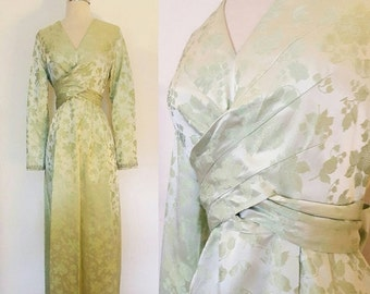 ON SALE 1970s Vintage Brocade Evening Gown Size Small