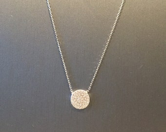 Small Pave Disc Necklace-Silver