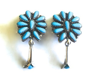 Vintage Zuni Sterling Silver & Sleeping Beauty Turquoise Petit Point Squash Blossom Clip Earrings