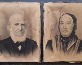 Pair Antique 1800's 19th Century Victorian Charcoal Portraits of Minnesota Farm Couple, Vintage, Art, Portrait, Man, Woman