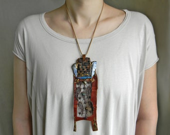 African leather necklace Huge Necklace with Raw crystal Blue quartz Rough gemstone necklace, Boho Tribal necklace, Long statement necklace