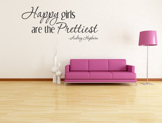 Happy Girls are the Prettiest Wall Lettering Quote Vinyl Decal Audrey Hepburn (83)