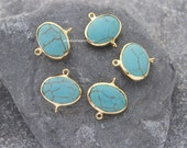 turquoise connector 18mm bezel link glossy gold plated station bead double bail loop hoop turkish supplies