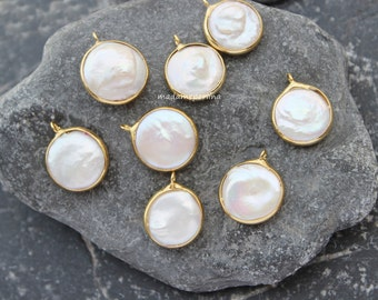 freshwater pearl pendant charm bezel gold plated 18mm white coin pearls turkish jewellery supplies  P7