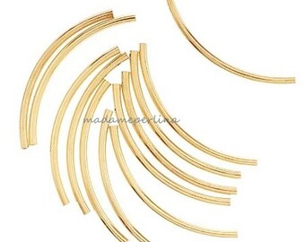 50  Tube Beads Curved spacers  Gold plated over brass 34 x 2mm WHOLESALE bulk jewelry supplies findings mdla181