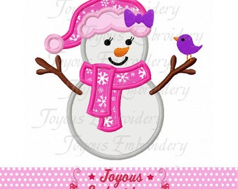 Instant Download Girl Snowman Applique Machine Embroidery Design NO:1882