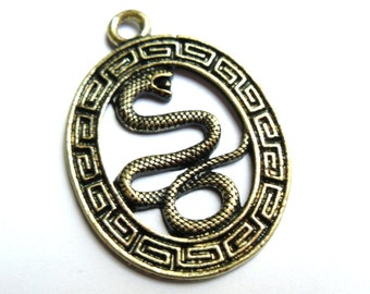 5 Golden Tone Bronze Oval Snake Charms 36x26mm